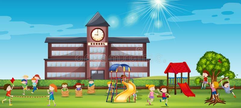 Дети играя на школьном дворе иллюстрация вектора