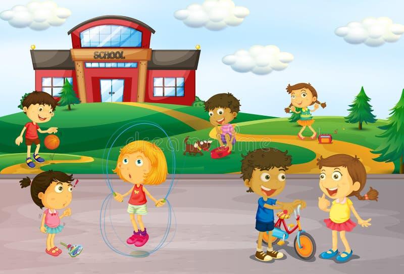 Дети играя перед школой бесплатная иллюстрация