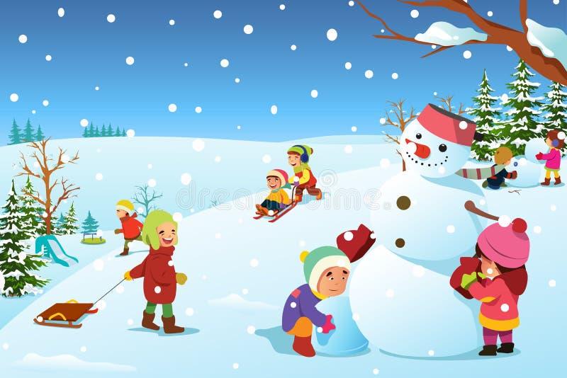 Дети играя снаружи во время иллюстрации зимы бесплатная иллюстрация