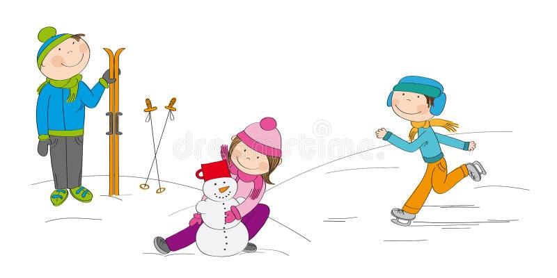 Дети играя снаружи в снеге бесплатная иллюстрация