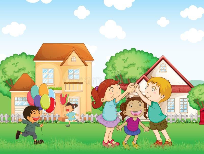 Дети играя снаружи бесплатная иллюстрация