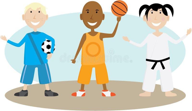дети играя спорты бесплатная иллюстрация