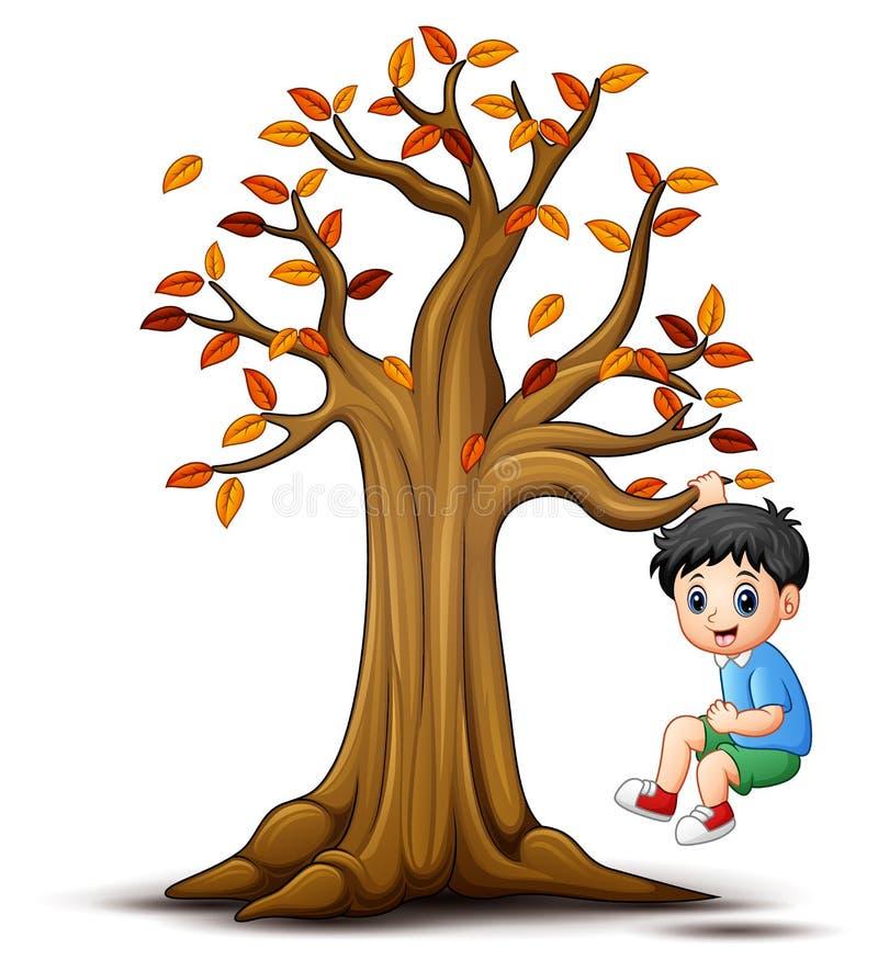 Дети играя с деревом осени иллюстрация вектора