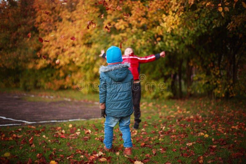 Дети играя с листьями в парке стоковая фотография