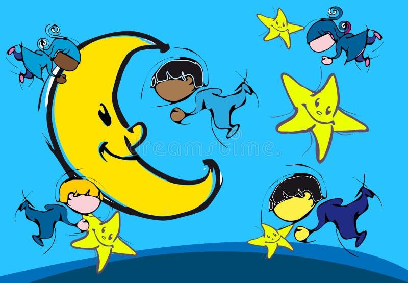 Дети играя с луной бесплатная иллюстрация