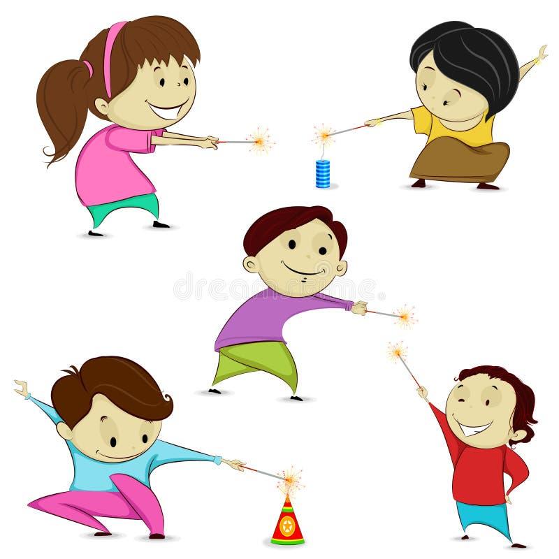 Дети играя с фейерверком иллюстрация вектора