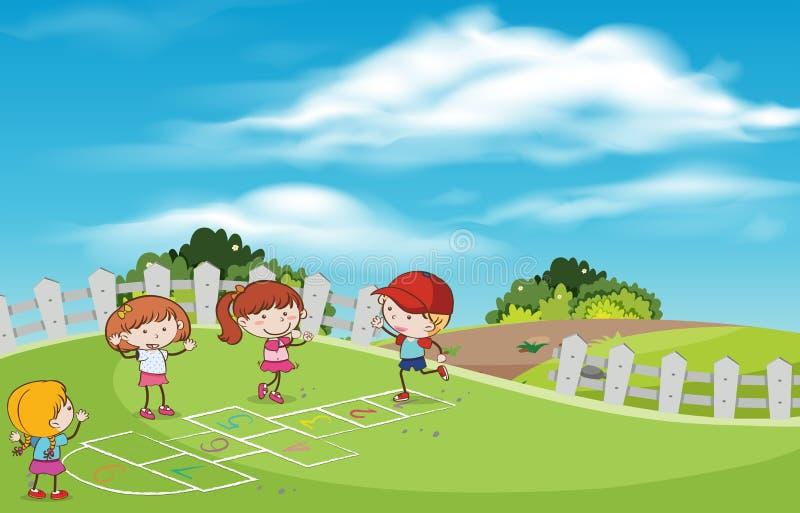 Дети играя хмель шотландский на спортивной площадке иллюстрация вектора