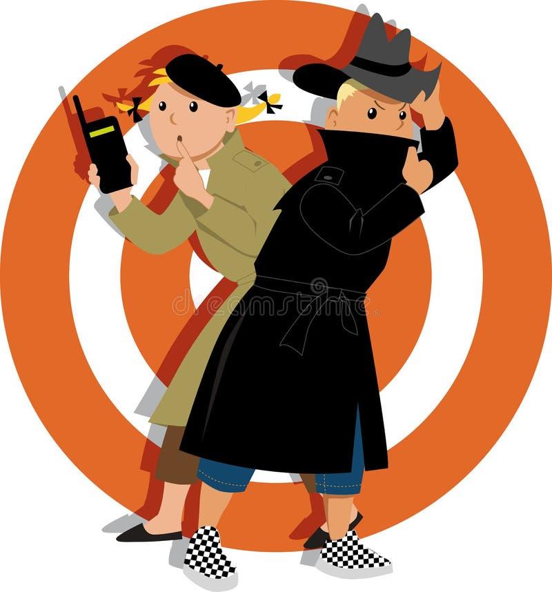 Дети играя шпионок бесплатная иллюстрация
