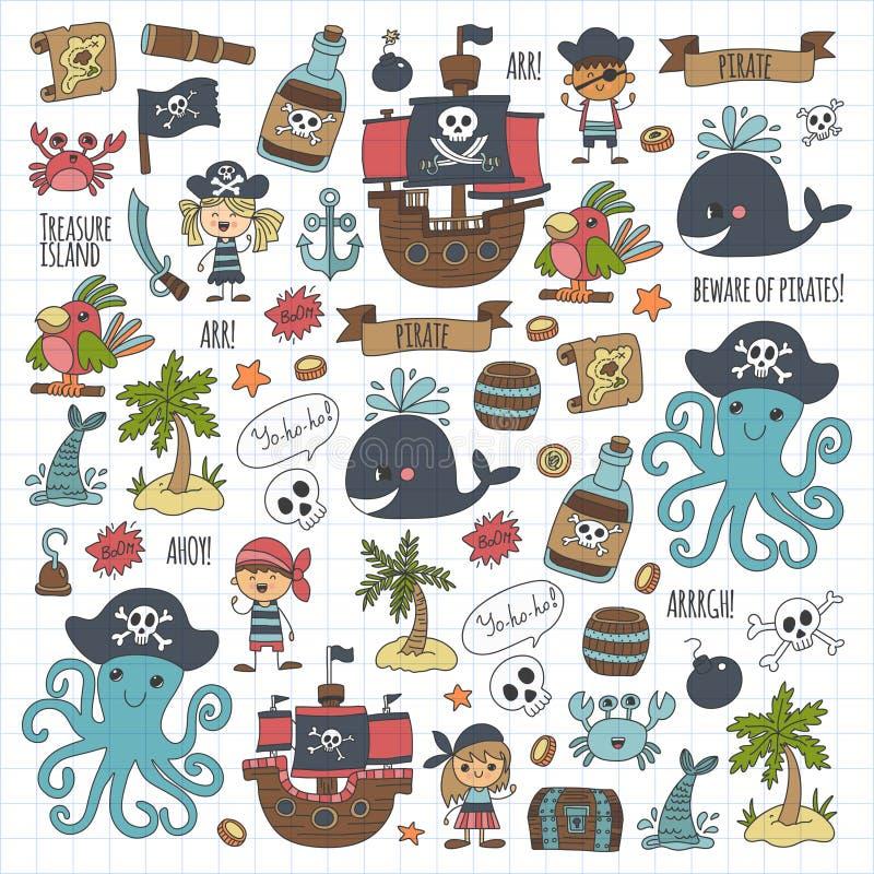 Дети иллюстрации шаржа детей пиратов вектора рисуя стиль для детей party в осьминоге стиля пирата, пиратском корабле бесплатная иллюстрация