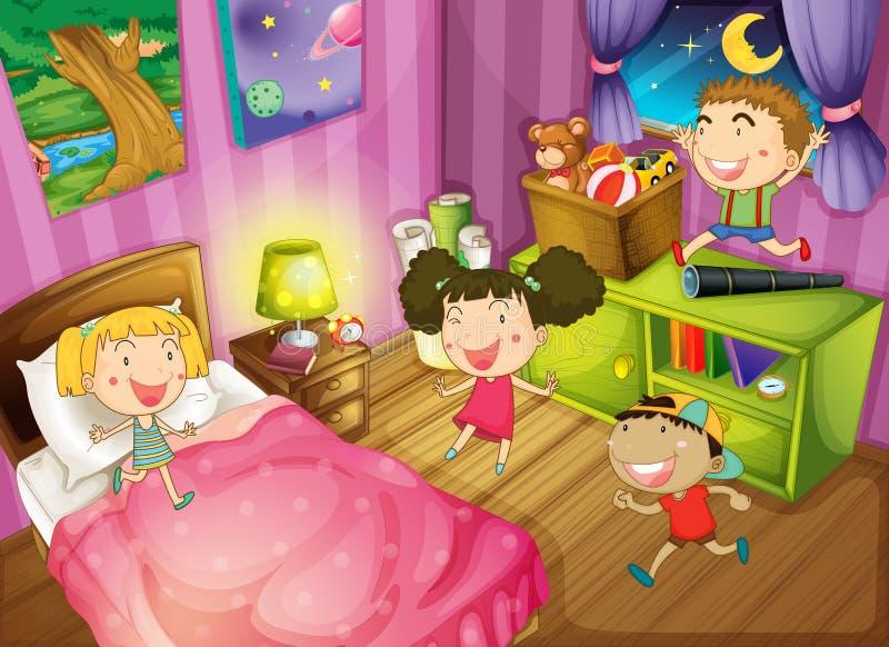 Дети имея потеху в спальне бесплатная иллюстрация