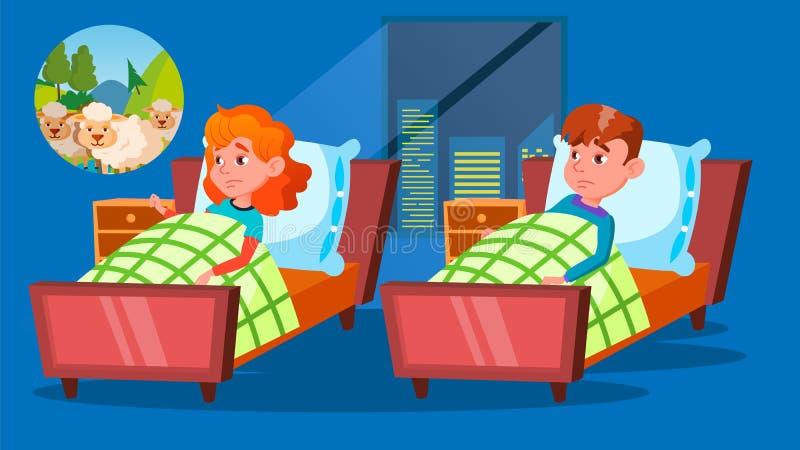Дети имея характеры вектора мультфильма проблемы инсомнии иллюстрация вектора