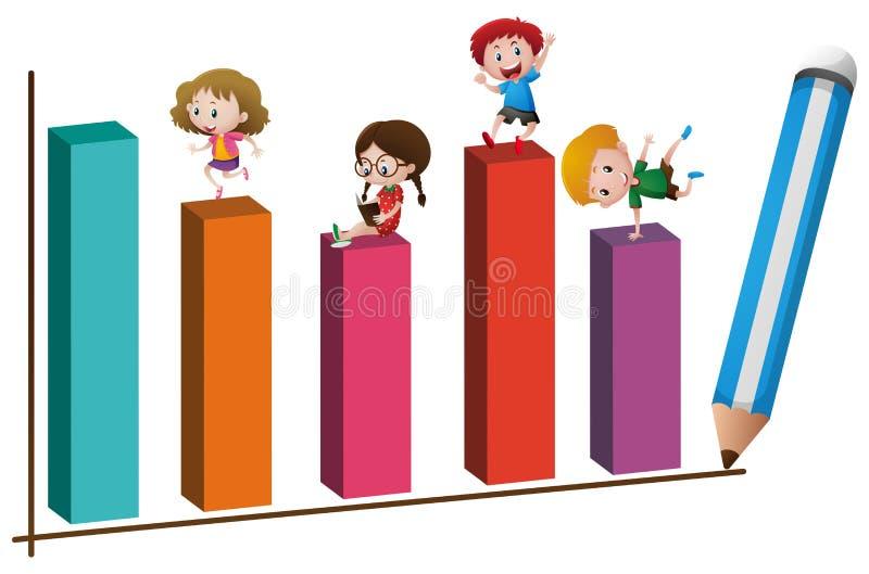 Дети и большая диаграмма в виде вертикальных полос иллюстрация вектора