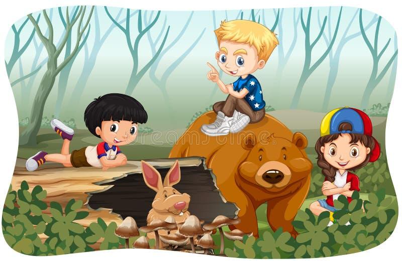 Дети и дикие животные в джунглях иллюстрация вектора