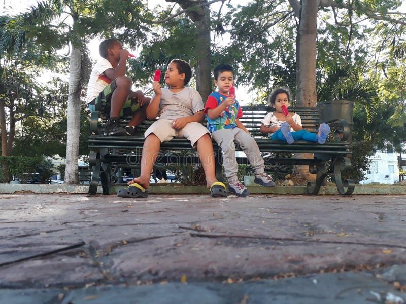 Дети и мороженое стоковые изображения rf