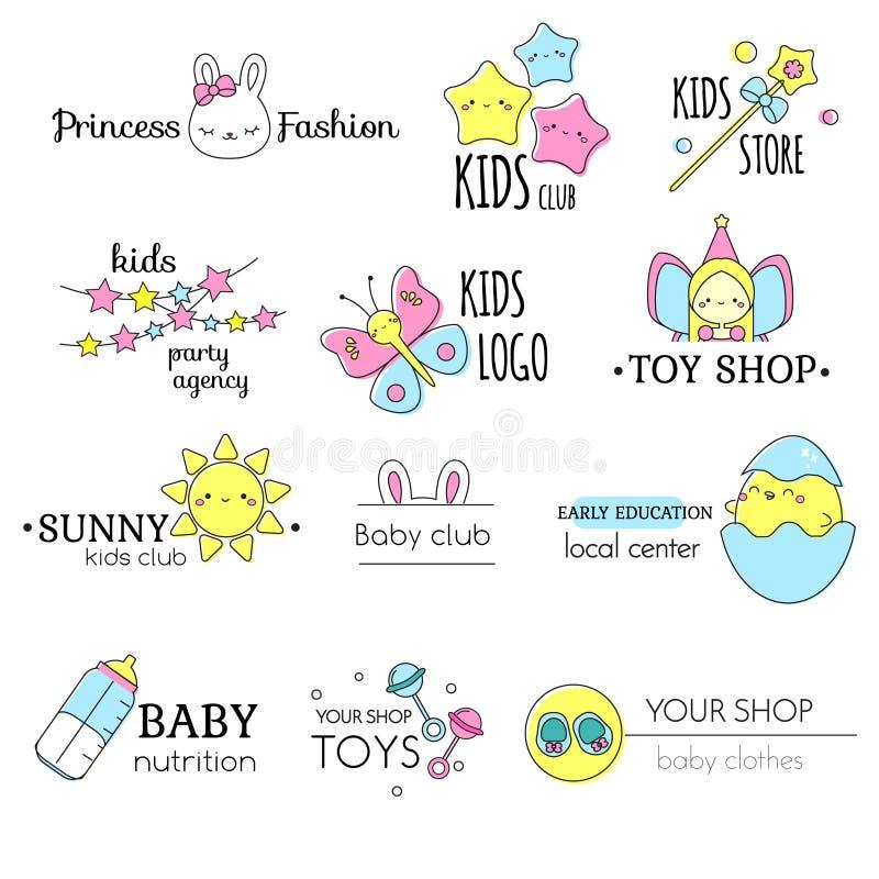 Дети и набор шаблона логотипа младенцев Знаки, ярлыки для одежд детей, игрушки, школа и другая отрасль иллюстрация штока