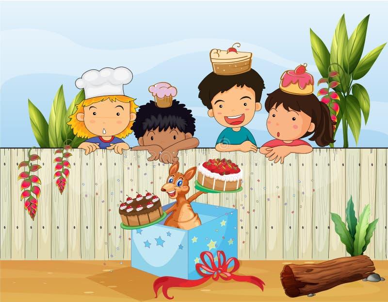 Дети и различные торты бесплатная иллюстрация