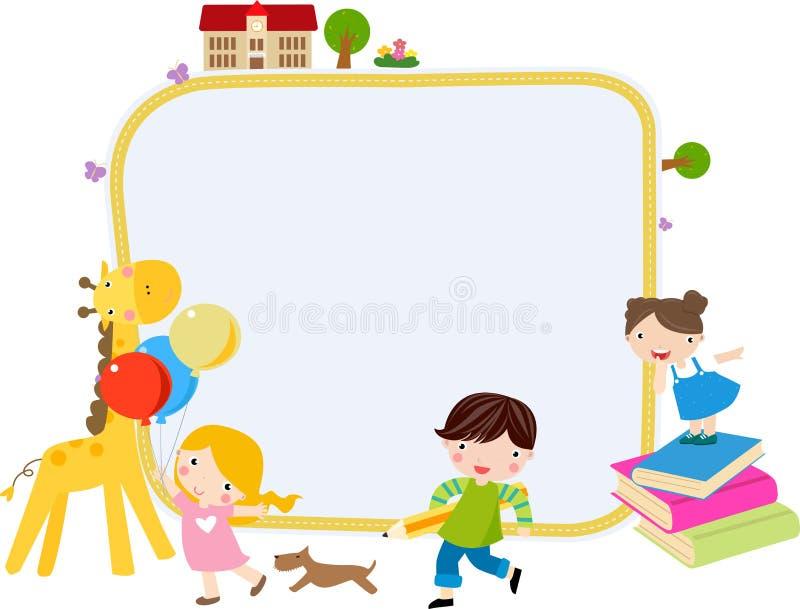 Дети и рамка иллюстрация вектора