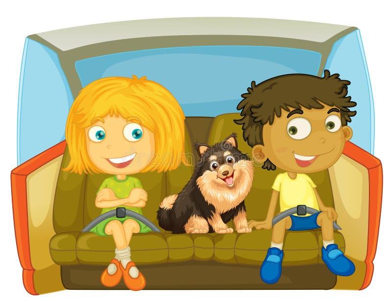 Дети и собака сидя в автомобиле иллюстрация штока