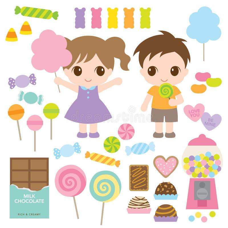 Дети и сладостные конфеты иллюстрация вектора