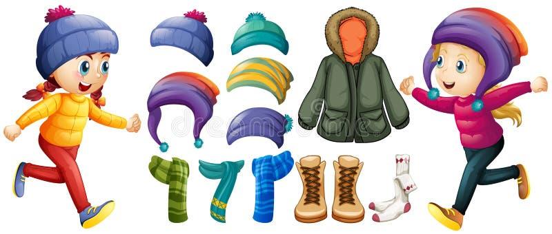 Download Дети и установленные одежды зимы Иллюстрация вектора - иллюстрации: 82527328