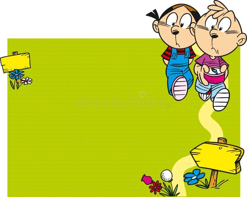 Дети идут иллюстрация штока