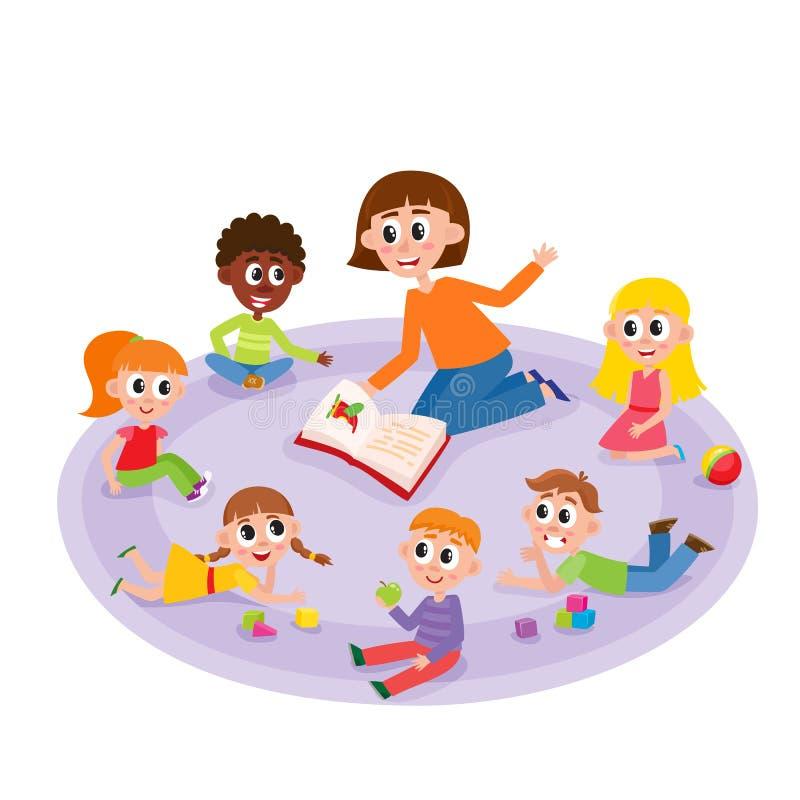 Дети и учитель детского сада читая книгу