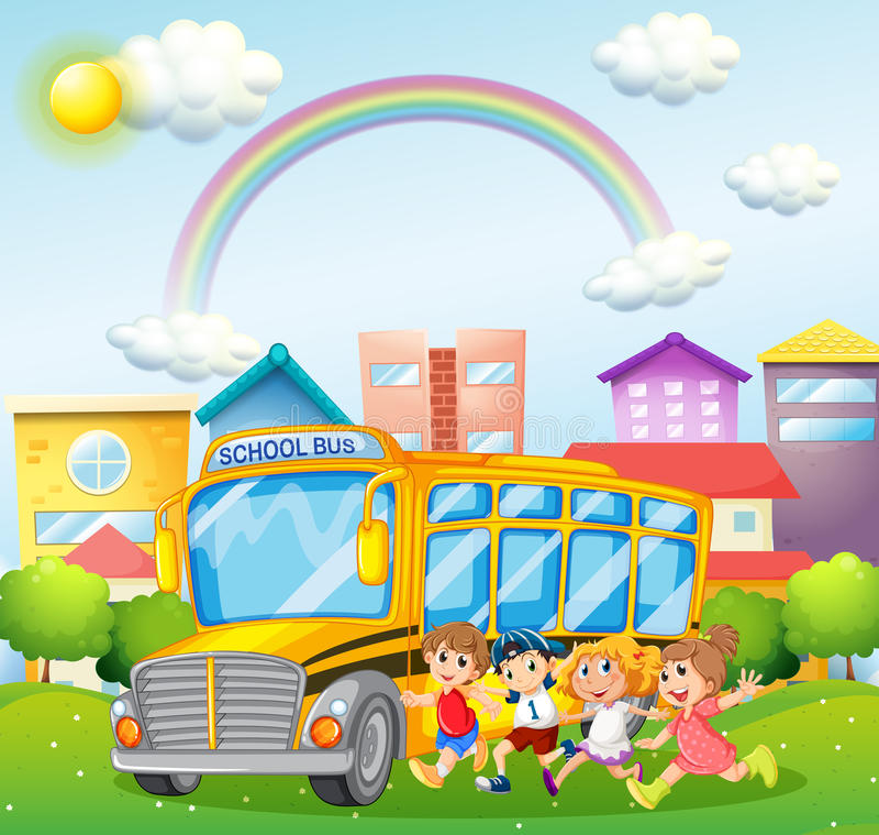 Дети и школьный автобус в парке иллюстрация вектора