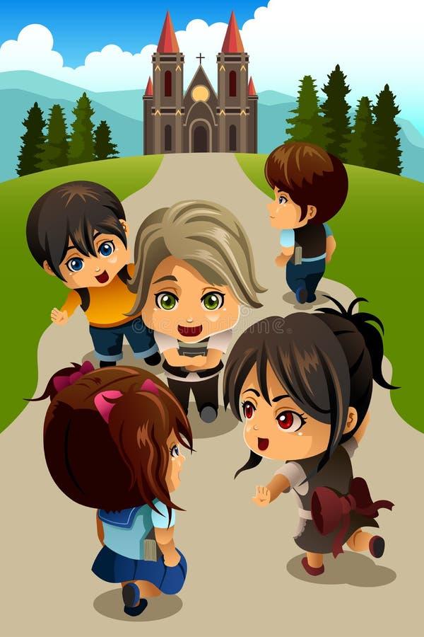 Дети идя к церков иллюстрация штока