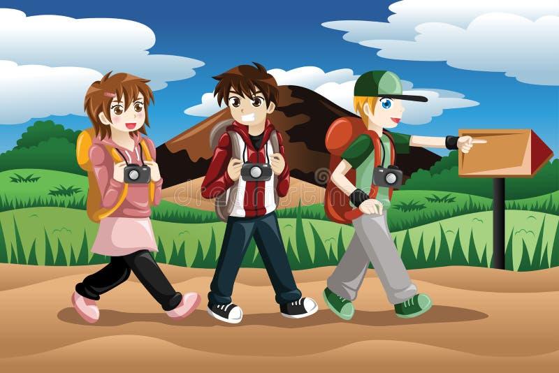 Дети идя на приключение иллюстрация вектора