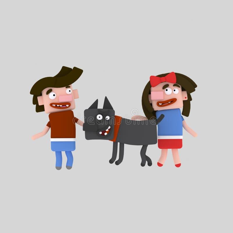 Дети идя с их черной собакой бесплатная иллюстрация