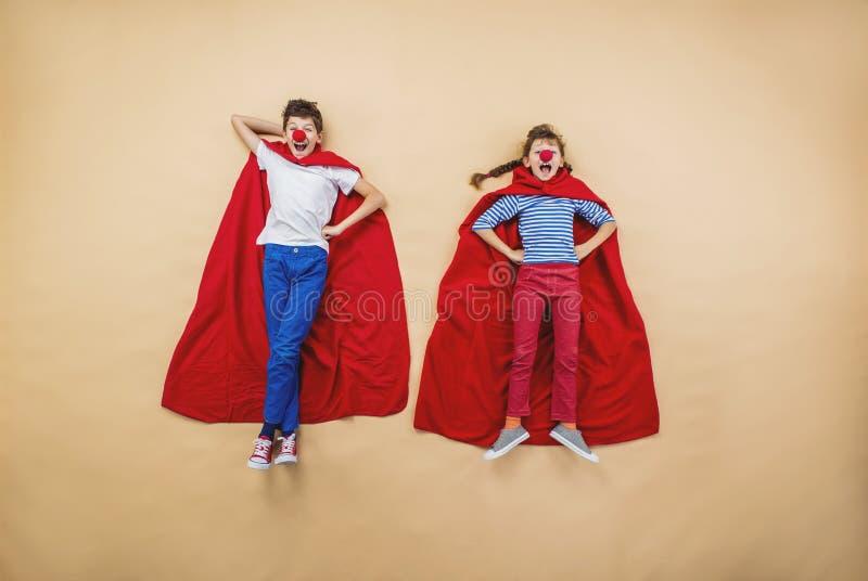 Дети как супергерои стоковое изображение