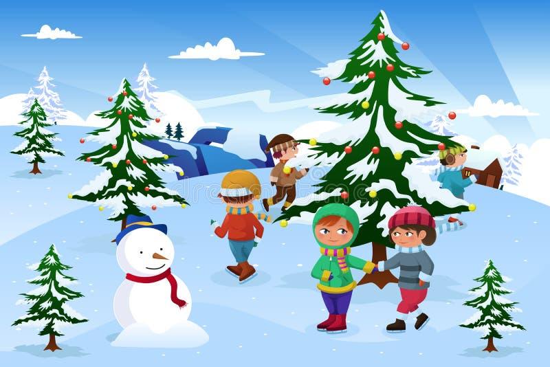 Дети катаясь на коньках вокруг рождественской елки иллюстрация вектора