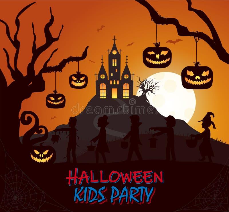 Дети костюма силуэта замка хеллоуина бить дерево на плакате покрашенном темнотой иллюстрация вектора