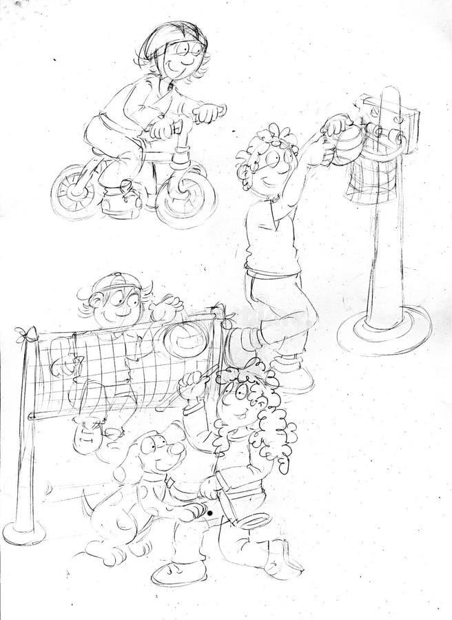 Дети которые резвятся, эскизы и эскизы и doodles карандаша бесплатная иллюстрация