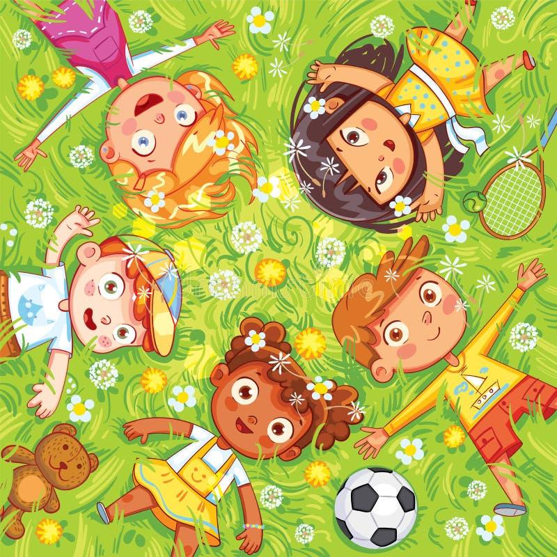 Дети лежат на луге бесплатная иллюстрация
