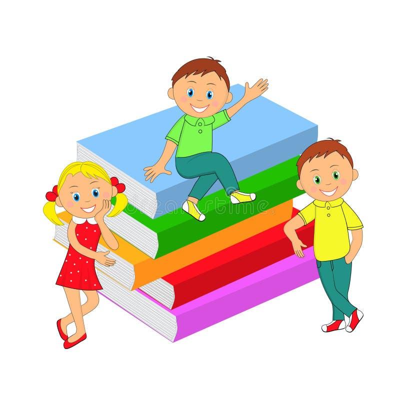 Дети, мальчики, девушка и стог книг иллюстрация вектора