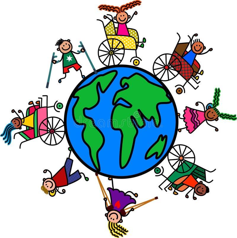 Дети мира инвалидности иллюстрация штока