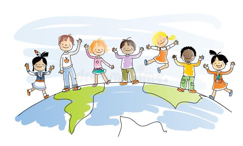 дети многокультурные иллюстрация штока