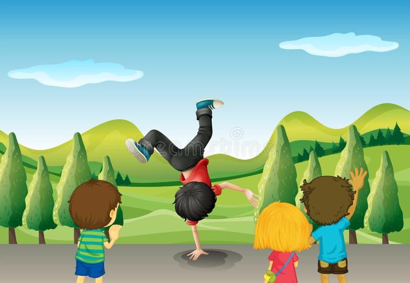 Дети наблюдая танцы мальчика иллюстрация штока