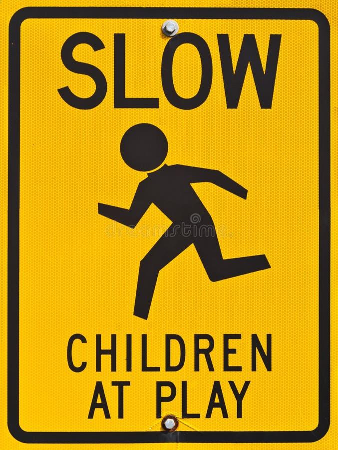 Дети на знаке игры Стоковые Изображения