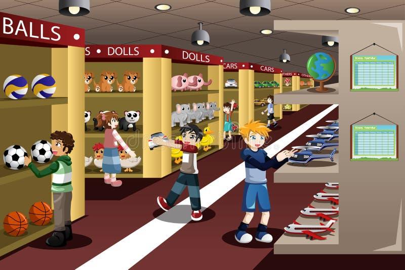 Дети на магазине игрушек бесплатная иллюстрация