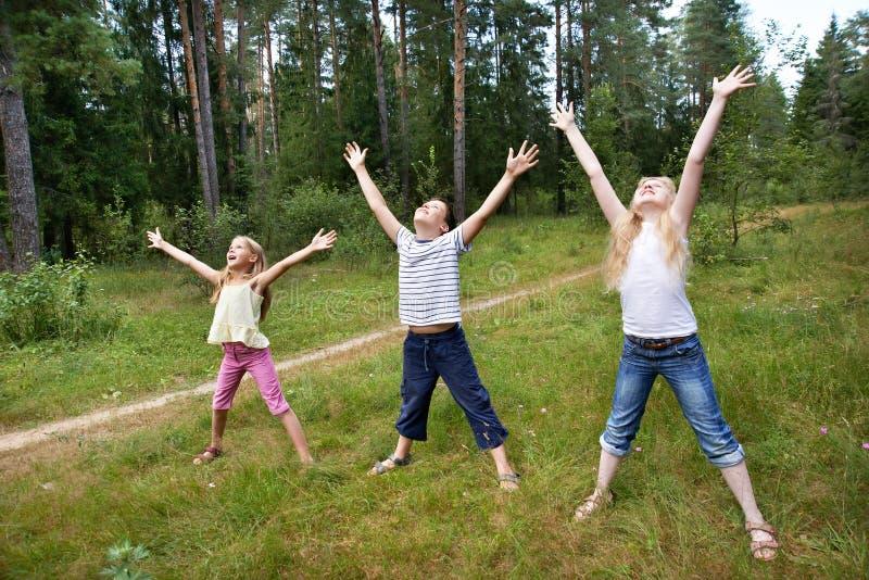 Дети на лужайке леса и наслаждаются жизнью в спорт стоковые изображения