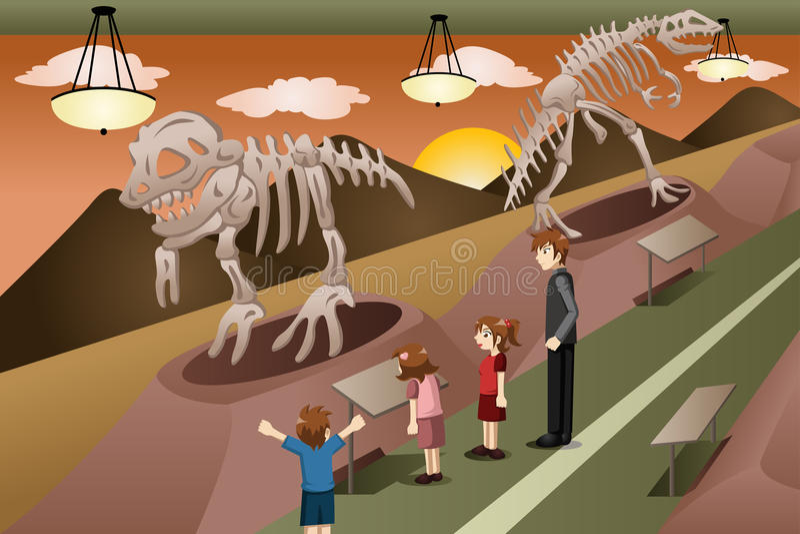 Дети на учебной экскурсии к музею иллюстрация вектора