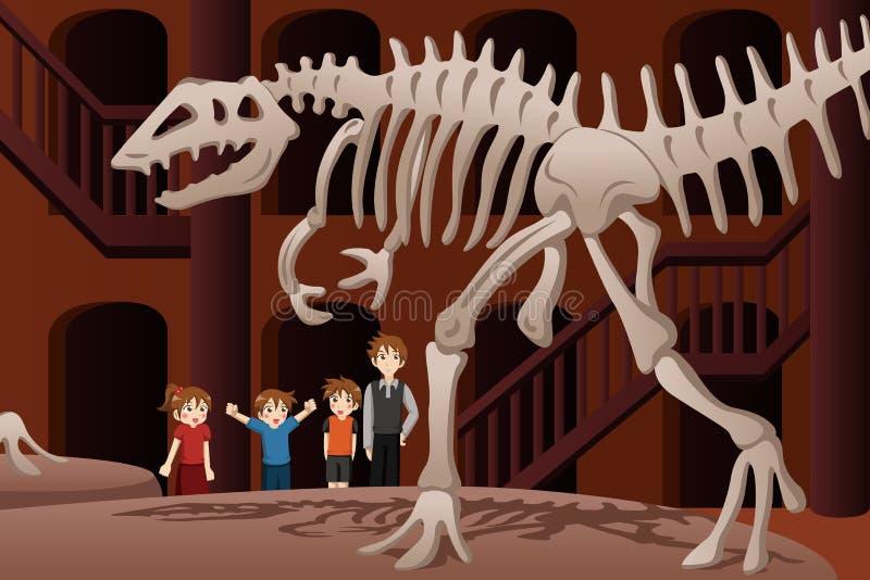 Дети на учебной экскурсии к музею иллюстрация штока