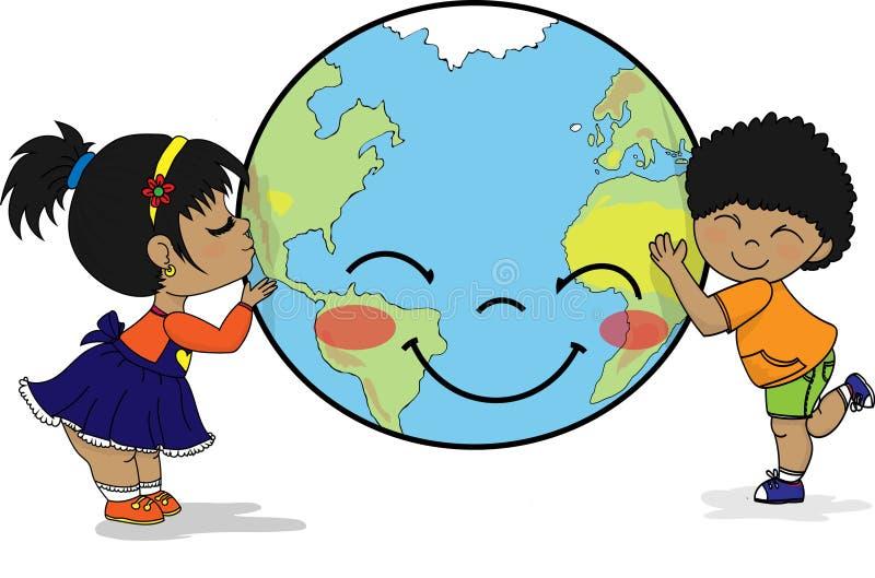 Дети обнимая и целуя усмехаясь землю планеты иллюстрация вектора