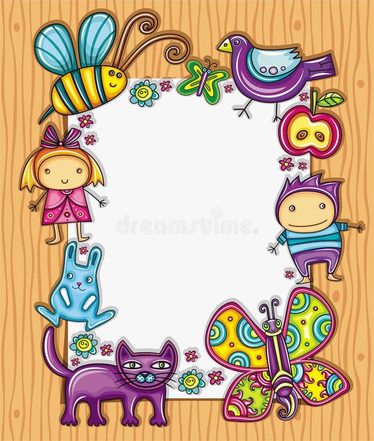 дети обрамляют симпатичное иллюстрация штока