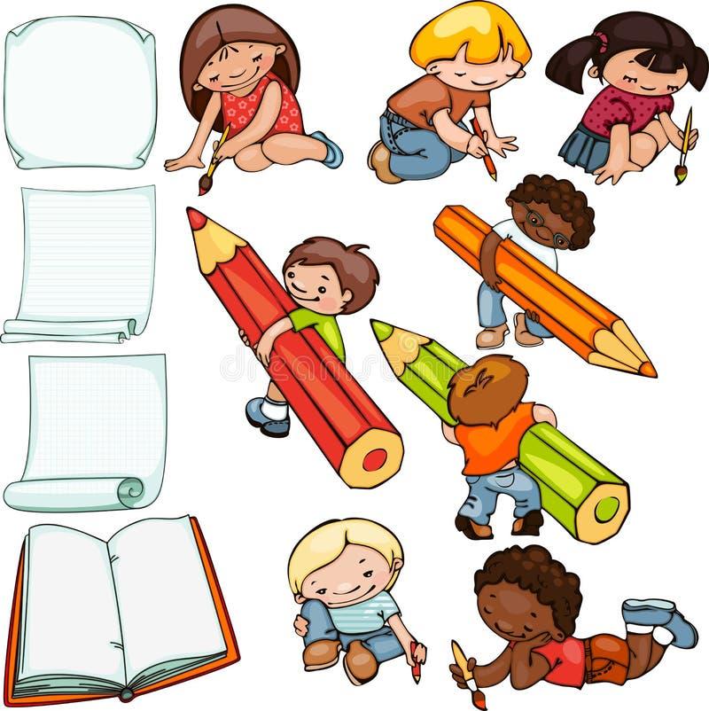 Дети обучают комплект иллюстрация штока