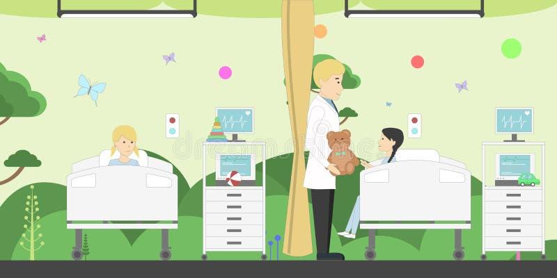 Дети опекунствуют в больнице бесплатная иллюстрация