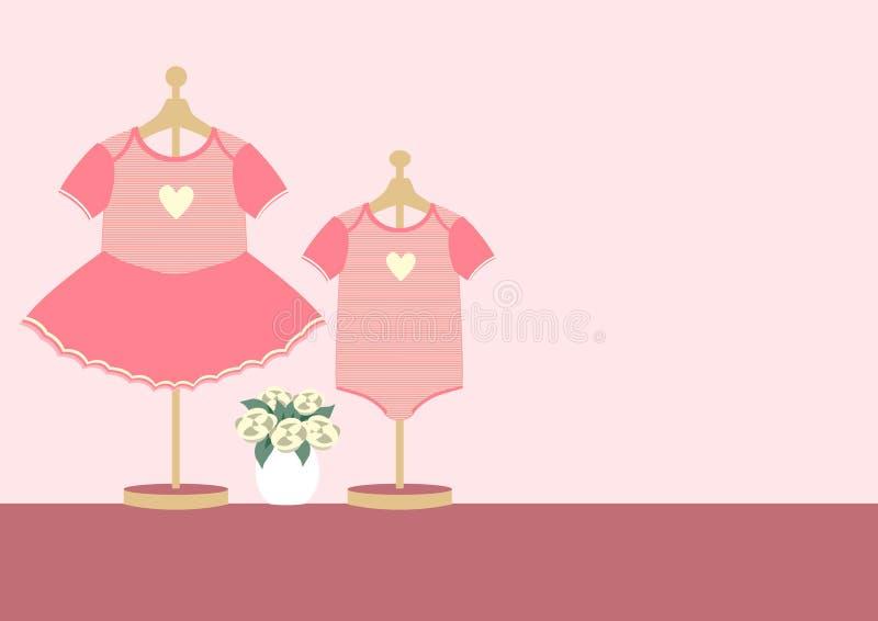 Дети одевают для маленькой девочки и мальчика на розовой предпосылке, иллюстрациях вектора иллюстрация вектора