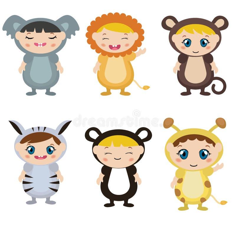 Дети одетые как животный милый костюм иллюстрация штока
